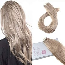 Moresoo Tape in Remy Hair Extensions Blonde 16 Inch Seamless Real Human Hair Ext