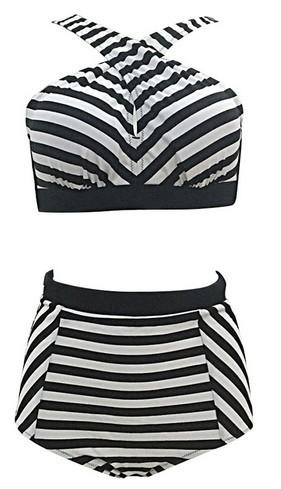 Women's Plus Size Push Up Two Pieces Crossover High Waist Bikini Set