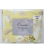 Carnation Duvet Cover Set King 300 Thread 100% Cotton Yellow Black White... - $24.74