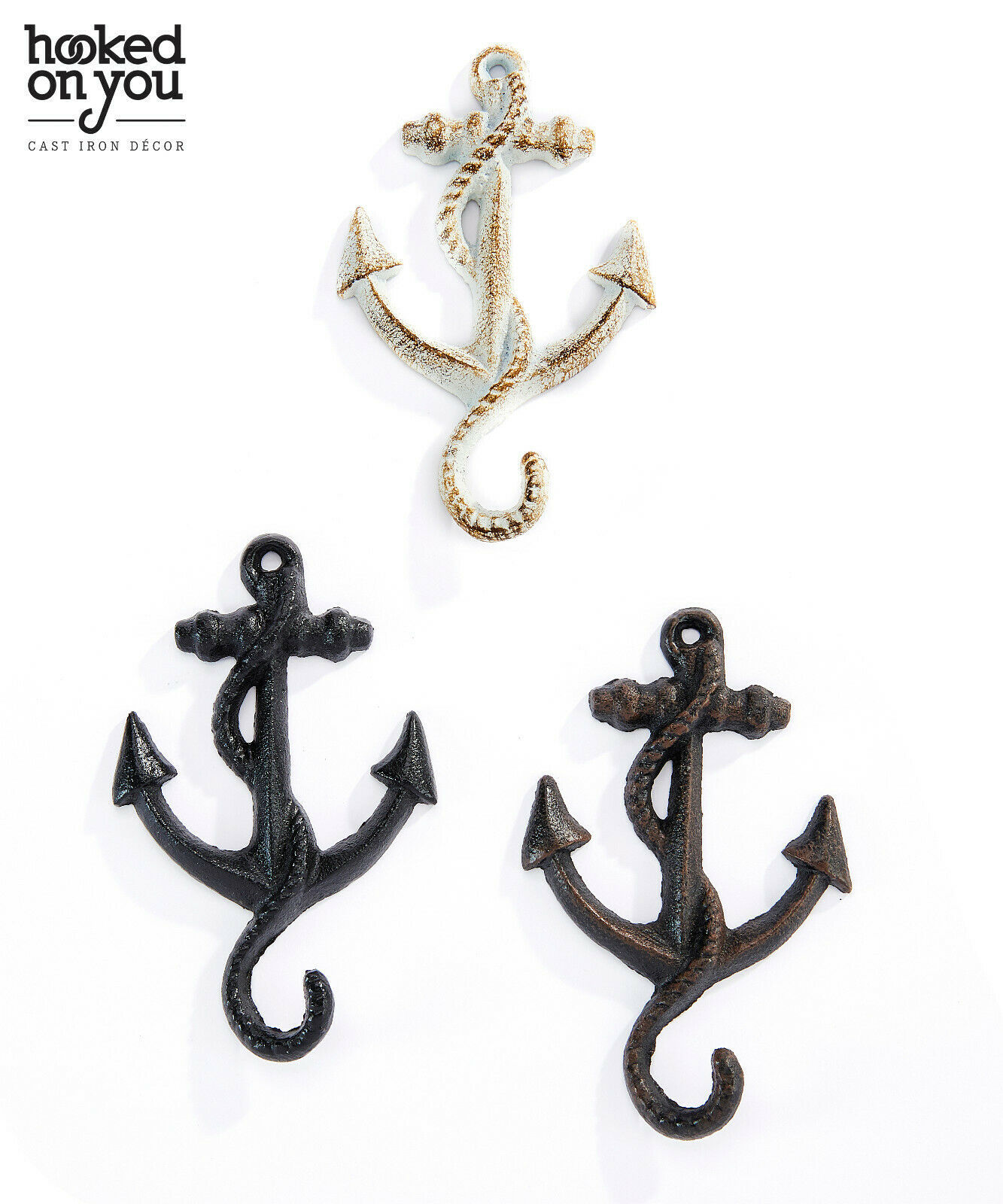 Set of 4 Anchor Design Single Hook Cast Iron - Colors Avail - Brown Black White