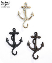 Set of 4 Anchor Design Single Hook Cast Iron - Colors Avail - Brown Black White image 1