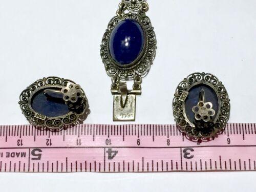European Cannetille Art Nouveau Bezel set Lapis Lazuli 800 Silver Bracelet