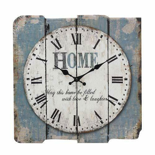 "Primary image for Rustic Clock Square 15"" Blue Home Farmhouse Style Kitchen Living Room New"