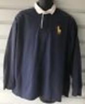 Polo Ralph Lauren Big Pony Navy-White Collar Long Sleeve Rugby  Shirt Sz L - $41.58