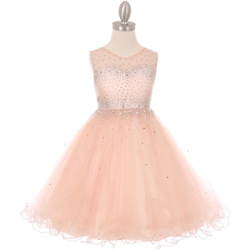 Royal Blue Short Length Sparkling Hand Bead Rhinestones on Illusion Tulle Dress