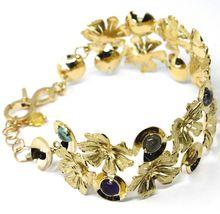 18K YELLOW GOLD BRACELET, RIGID, BANGLE, FINELY WORKED FLOWERS, CABOCHON STONES image 3
