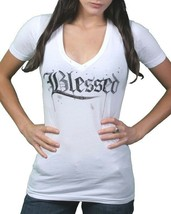 In Gods Hands Womens White Maslo Blessed Deep V-Neck T-Shirt NWT