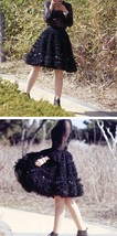 Black Knee Length Layered Tulle Skirt Plus Princess Tulle Skirt Holiday Outfit image 4