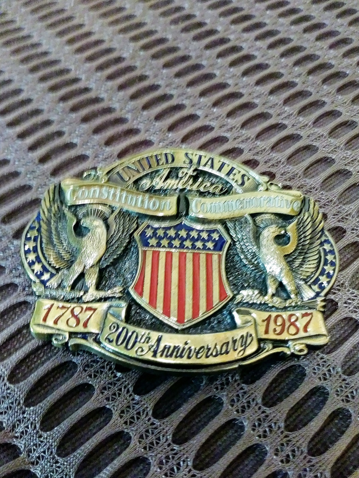 Vintage Belt Buckle 200 Anniversary 1787-1987 Constitution Commemorative Mens Be