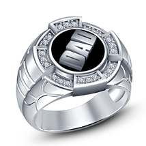 "14k White Gold Over 925 Sterling Silver Round Cut Sim Diamond Men's ""Dad"" Ring - $113.98"