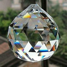 """FACETED CRYSTAL SPHERE 1.25"""" 30mm Clear Feng Shui Rainbow Sun Catcher Pr... - $5.95"""
