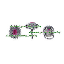 5.50ct-ROSE-CUT-DIAMOND-REAL-RUBY-ANTIQUE-VICTORIAN-LOOK-VINTAGE-925-SILVER-RING - $613.02