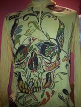 Men Yoga Hoodie long sleeve  Scull Bird Rock zen Sure WEED M HIPPIE COTT... - $19.79
