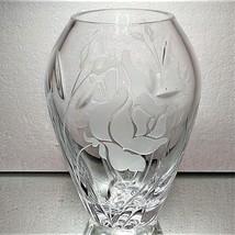 "LENOX Lead Crystal Glass Etched Vase Rose Motif Decorative Heavy 6.25"" -... - $11.60"