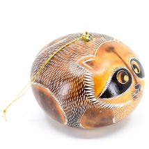 Handcrafted Carved Gourd Art Raccoon Animal Ornament Made in Peru image 4
