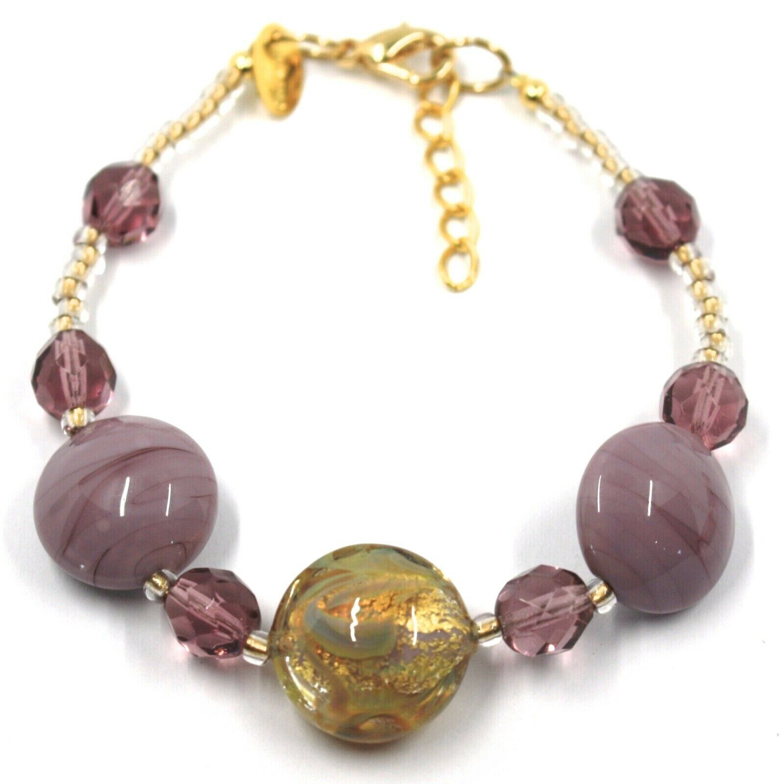 """BRACELET PURPLE YELLOW MURANO DISC GLASS & GOLD LEAF, MADE IN ITALY, 20cm, 7.9"""""""