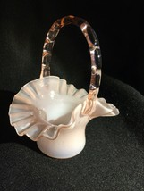 FENTON Opalescent Pink RUFFLED BASKET With Cranberry Handle - $23.38