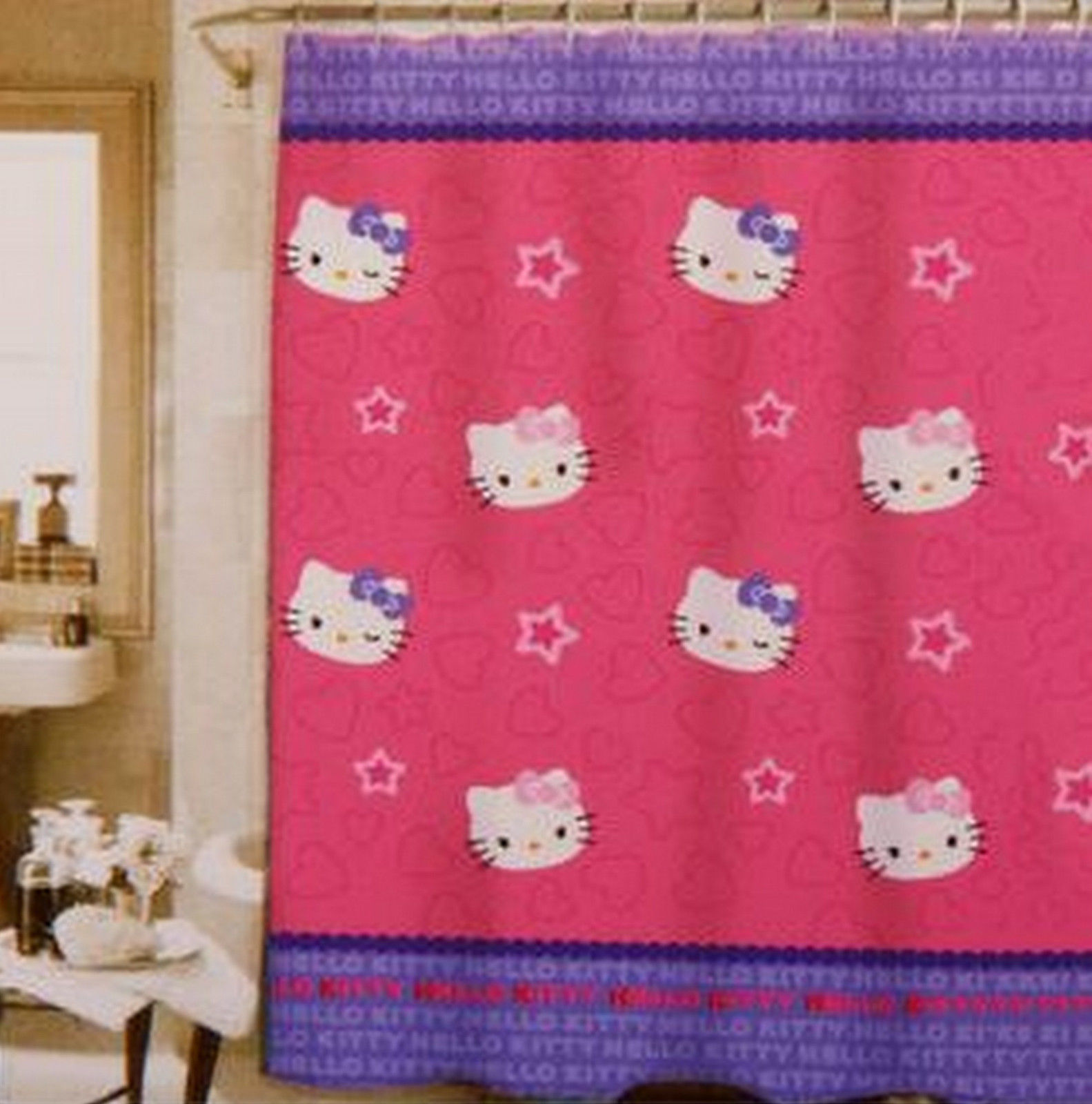 "Hello Kitty Twins & Wink Star Gazers Fun Shower Curtain, Peva 72"" x 70""- NEW"