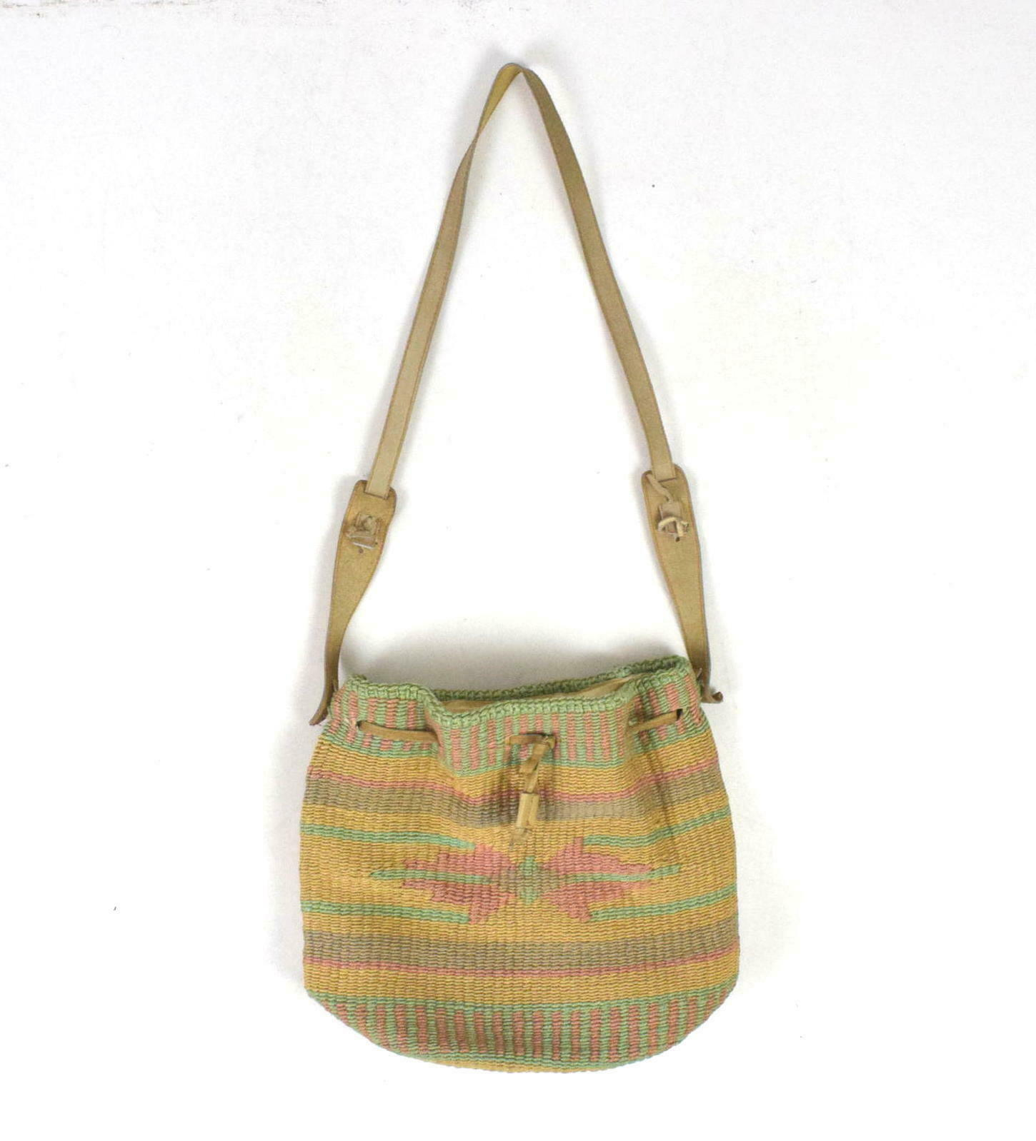 Primary image for Vtg Pastel Straw Leather Drawstring Beach Tote Bag Hippie Satchel Bucket Purse