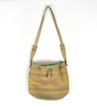 Vtg Pastel Straw Leather Drawstring Beach Tote Bag Hippie Satchel Bucket... - $28.70