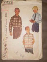 2212 Vintage Simplicity Sewing Pattern Boys Button Up Shirt 8 School Cla... - $5.19