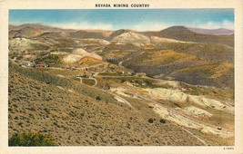 Vintage Linen Postcard NV C360 Nevada Mining Country Mine Birds Eye View - $8.00