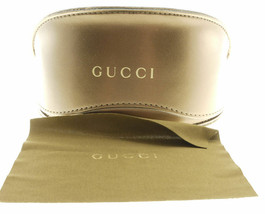 Gucci Gold Brown Large Clamshell Leather Case With Cloth & Cardboard Box - $34.30