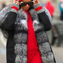 Top Quality Luxurious Fox Fur Collar lined Hooded Fox Parka Coat image 3
