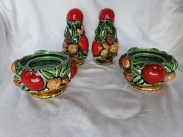 Inarco Japan Apple Nuts Pine Cone Candle Holders Set and Set of S/P Shak... - $49.00