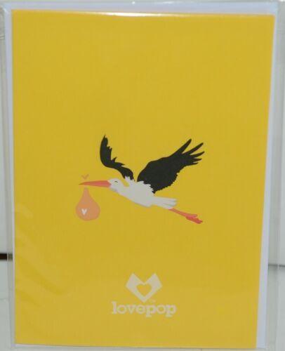 Lovepop LP2078 Stork Pop Up Slide Out Note Card White Envelope Cellophane Wrap