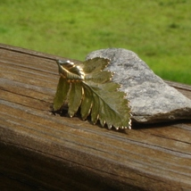 Real fern leaf dipped in 24k yellow gold pendant3 thumb200
