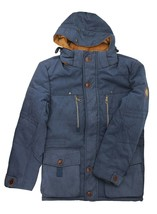 Men's Heavy Weight Sherpa Lined Removable Hood Winter Coat Insulated Navy Jacket image 2