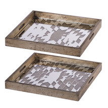 "Idony Vintage Mirrored Trays 16x16"" Set Of 2 - 43648-DS - £77.55 GBP"