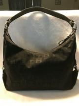 Tommy Hilfiger big black shoulder bag/purse cloth with leather strap - $19.80