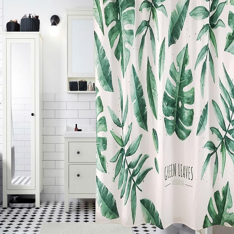 American Pastoral Digital Printing Banana Leaves Shower Curtain Waterproof Milde