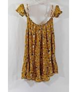 Mossimo Juniors Dress Off Shoulder Yellow Floral Boho Empire Waist Ruffl... - $15.88