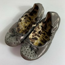 Sam Edelman Beatrix Womens Ballet Flats Size 5 M Gray Studded Shimmer Shoes - $21.78