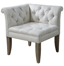 VINTAGE FRENCH ROLLED ARM LINEN BLEND CORNER ACCENT CHAIR TAPERED LEGS  - $602.80
