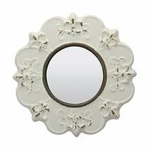 Stonebriar White Round Antique Ceramic Wall Mirror, Vintage Home Décor (... - $21.65