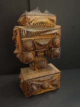 """All Original Antique TRAMP ART Wooden Drawer 17""""1/2 Cigar Boxes Outstand... - $1,195.00"""