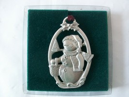 The Longaberger Company Pewter Snowman Christmas Ornament Basket Holly Tree 1999 - $11.88