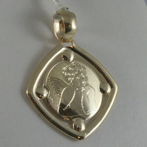 SOLID 9K YELLOW GOLD ANGEL PENDANT, SQUARE ANGEL MEDAL, MADE IN ITALY, 9KT image 1