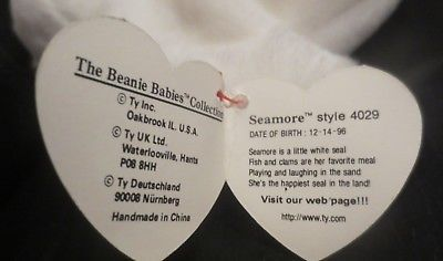 Ty Beanie Baby Seamore 4th Gen Hang Tag & 3rd Gen Tush  Tag PVC Filled NEW