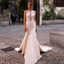 Sexy Sleeveless Romantic Appliques Mermaid Princess Wedding Dress image 6
