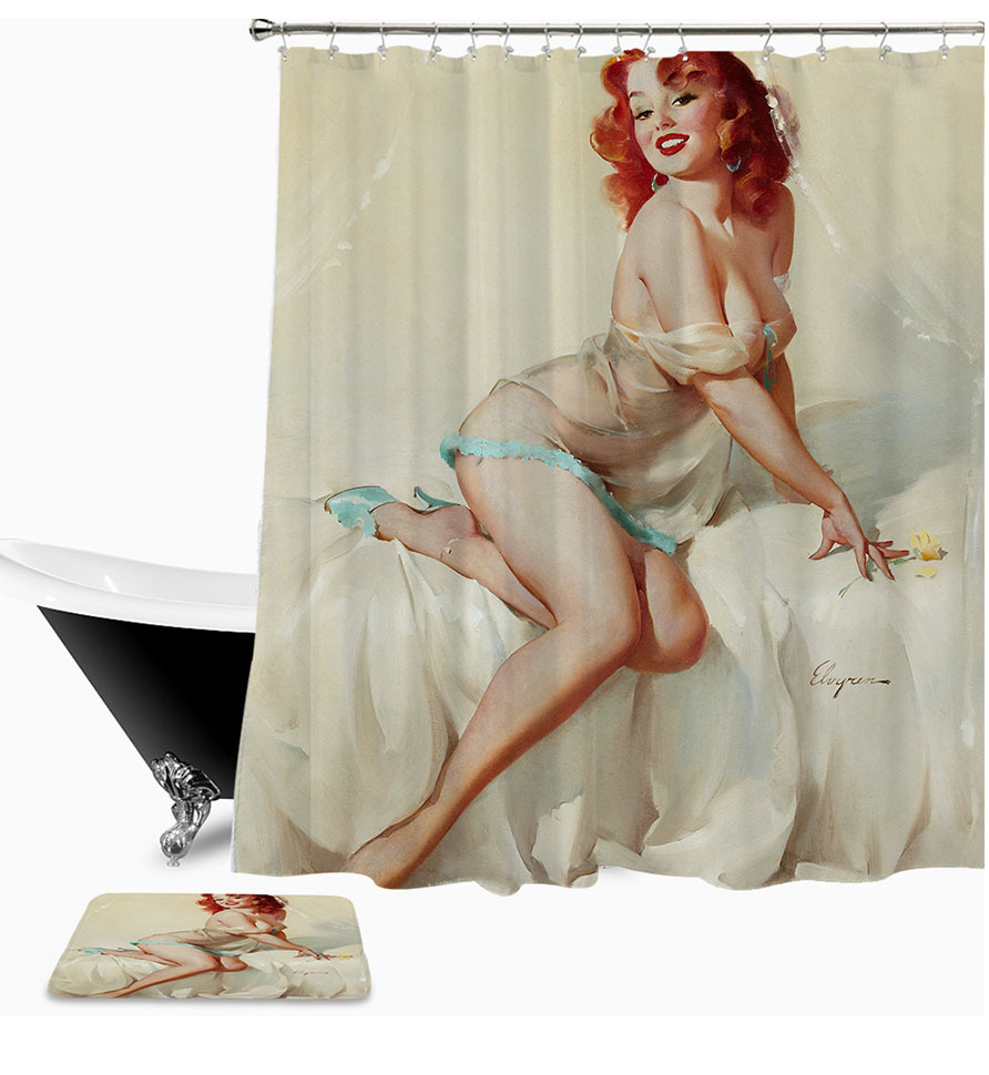 Sexy Woman 04 Shower Curtain Waterproof Polyester Fabric & Bath Mat For Bathroom