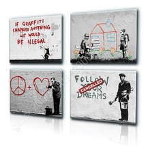 CANVAS (Rolled) Dreams Doctor House Graffiti Heart House Banksy Set Of 4... - $23.85+