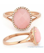 2.29 ct Checkerboard Oval Cut Pink Opal Diamond Halo Cocktail Ring 14k R... - $445.49