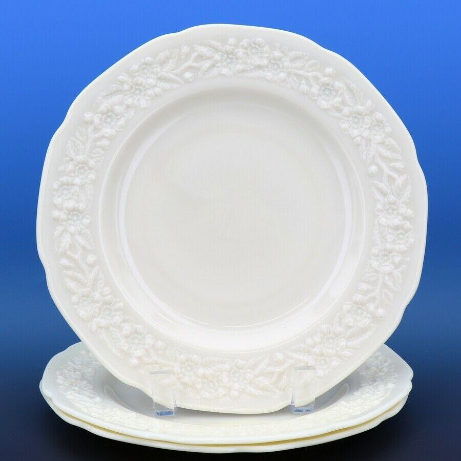 "3 Indiana Custard Depression Glass Flower Leaf Band Plates 9.75"" Dinner MINT"
