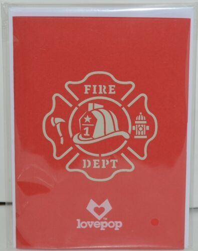 Lovepop LP1519 Fire Truck Red Pop Up Card White Envelope Paper Cellophane Wrap