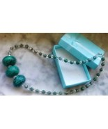 Green Chrysocolla Rondelles, Kiwi Jasper and White Crystal Necklace - New - $17.82
